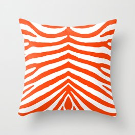 Fluorescent Orange Neon and White Zebra Stripe Throw Pillow
