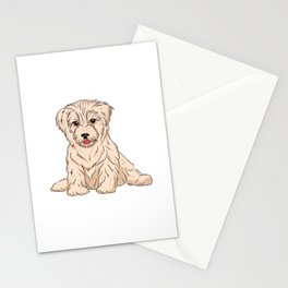 Havanese Dog with white fur drawing Stationery Cards