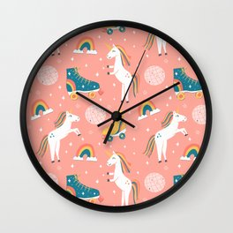 Unicorn Skate Party Wall Clock