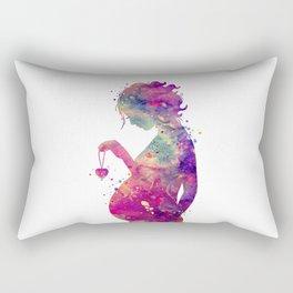Pregnant Woman Colorful Watercolor Art Rectangular Pillow