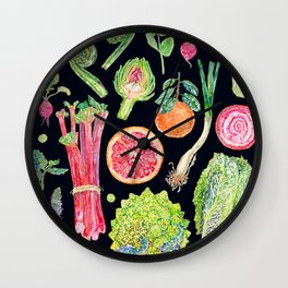 Spring Harvest Watercolour - Black Wall Clock