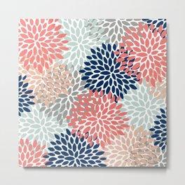 Festive, Flowers Print, Blue, Coral, Aqua, Gray Metal Print