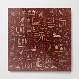 Ancient Egyptian hieroglyphs - Red Leather and gold Metal Print