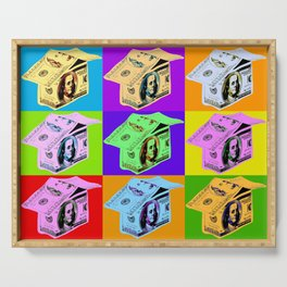 Poster with dollars house in pop art style Serving Tray