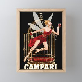 Vintage Bitter Campari Fairy Lithograph Advertisement Framed Mini Art Print