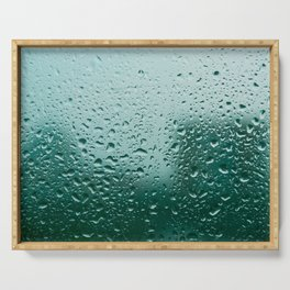 Abstract water drops on glass, rainy day Serving Tray