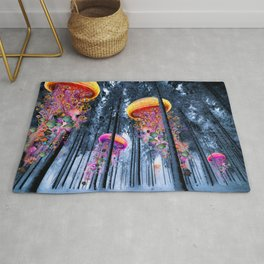 Winter Forest of Electric Jellyfish Worlds Rug