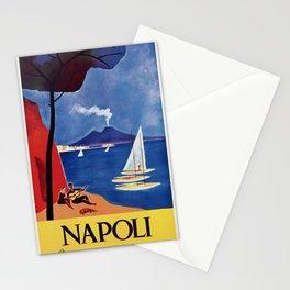 Napels Italy retro vintage travel ad Stationery Cards