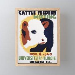 Vintage American WPA Poster - 14th Illinois cattle feeders meeting (1940) Framed Mini Art Print