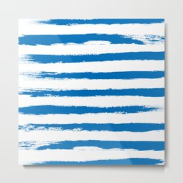 Nautical Blue STRIPES Handpainted Brushstrokes Metal Print