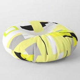 yellow white black silver grey green orange geometric modern art Floor Pillow