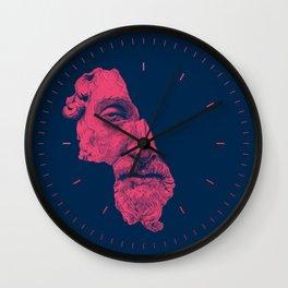 MARCUS AURELIUS ANTONINUS AUGUSTUS / prussian blue / vivid red Wall Clock