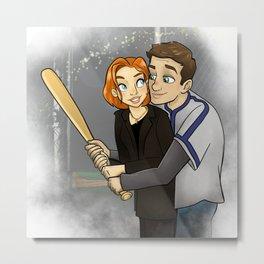 Shut up, Mulder. I'm Playing Baseball Metal Print