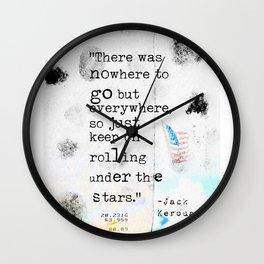 Jack Kerouac travel quote Wall Clock
