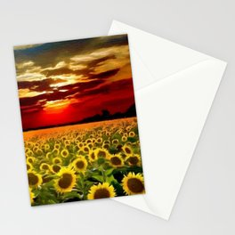 Sunflowers & Sunflower fields at Sunset oil on canvas landscape painting Stationery Cards