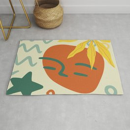 Orange Green And Yellow Portrait Abstract Face, Leaf And Star. Rug