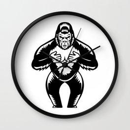 Silverback Gorilla Beating Chest Woodcut Wall Clock