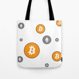 Ethereum and Bitcoin Pattern Tote Bag