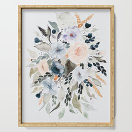 Loose Blue and Peach Floral Watercolor Bouquet  Serving Tray