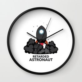 Funny Retarded Astraunot Gift Astronomy Rocket Wall Clock