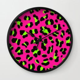 80s Neon Pink and Lime Green Leopard Wall Clock