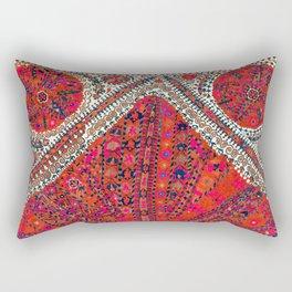 Pink Wildflower Sunshine III // 18th Century Colorful Pinkish Red Blue Sapphire Metallic Happy Patte Rectangular Pillow