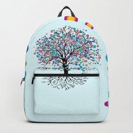 Tree of life rainbow flowers Backpack