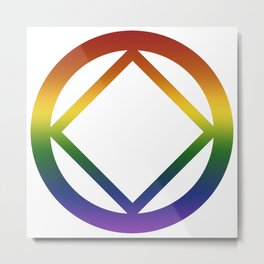 Narcotics Anonymous Rainbow Pride Symbol Metal Print