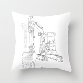 Mini Excavator Throw Pillow