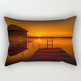 Boardwalk on the Lake at Sunset Rectangular Pillow