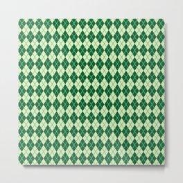 Green Argyle Pattern Metal Print