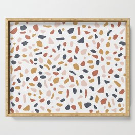 Terrazzo tile - sunset, rust, ochre, mustard, yellow, blue, earth tones, neutral, pattern Serving Tray