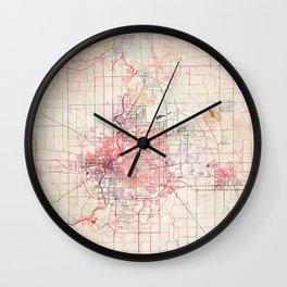 Rockford map Illinois painting Wall Clock