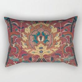 Flowery Arabic Rug II // 17th Century Colorful Plum Red Light Teal Sapphire Navy Blue Ornate Pattern Rectangular Pillow