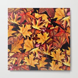 Fall Leaves Pattern Metal Print