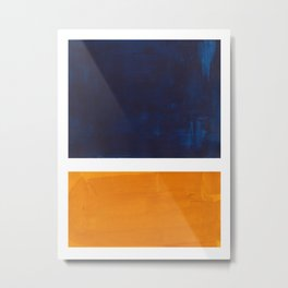 Navy Blue Yellow Ochre Abstract Minimalist Rothko Colorful Mid Century Color Block Pattern Metal Print