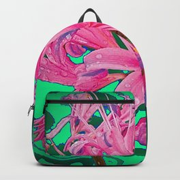 PINK SPIDER TYPE LILY FLORALS GREEN GARDEN ART Backpack