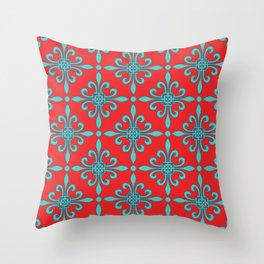 Fleur de Lis - Red & Turquoise Throw Pillow