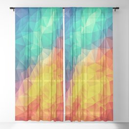 Abstract Polygon Multi Color Cubism Low Poly Triangle Design Sheer Curtain