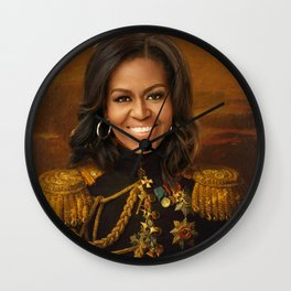 Michelle Obama Poster, Classical Painting, Regal art, General, First Lady, Democrat, Political Wall Clock
