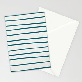 Tropical Dark Teal Simple Minimal Hand Drawn Horizontal Line Pattern Inspired by Sherwin Williams 2020 Trending Color Oceanside SW6496 on Off White Stationery Cards