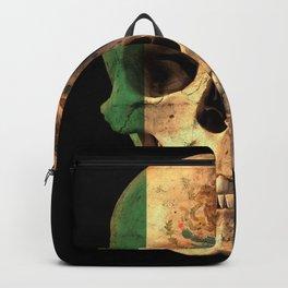 Mexican Flag Skull Design for Men and Women Backpack