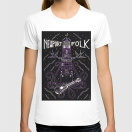 1959 Newport Folk Festival Advertisement Lighthouse Poster, Newport, Rhode Island Purple Motif T-shirt
