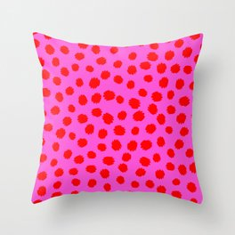 Keep me Wild Animal Print - Pink with Red Spots Throw Pillow