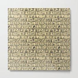 Egyptian Hieroglyphics // Tan Metal Print