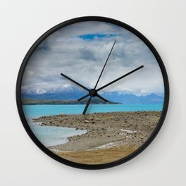 Impressive water colour and mountain landscape at the Tekapo Lake Wall Clock