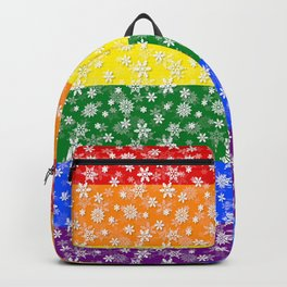 Christmas Pride Bright Festive Rainbow Snowflakes Backpack