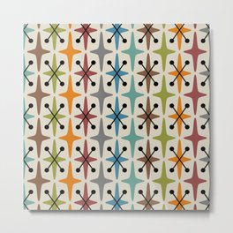 Colorful Mid Century Modern Abstract Star Pattern 226  Metal Print