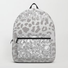Silver Ombre Leopard Print Backpack