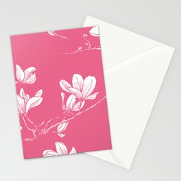 Magnolia - flower pattern hand drawn on pastel background Stationery Cards